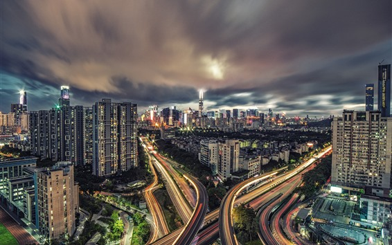 Wallpaper Cityscape, city, night, lights, highways, clouds, Shenzhen, China