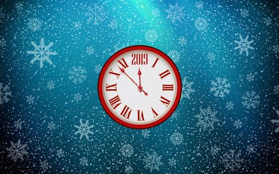 Fondos de pantalla Reloj, año nuevo 2019, copos de nieve.