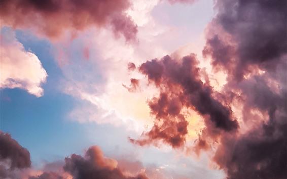 Fondos de pantalla Nubes, puesta de sol, cielo