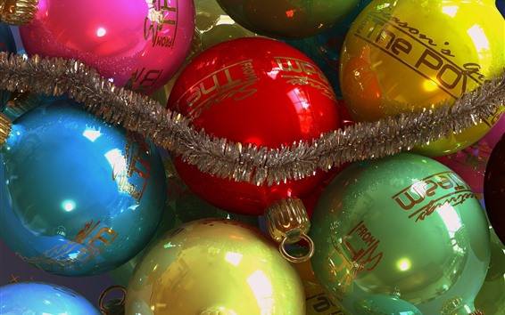Wallpaper Colorful Christmas balls, decoration, shine