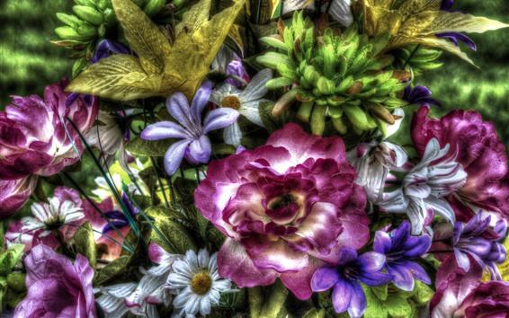 Papéis de Parede Flores artificiais coloridas, estilo HDR