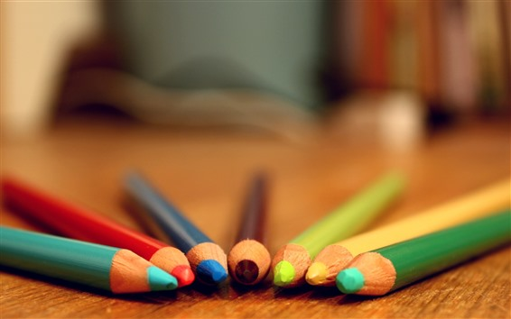 Wallpaper Colorful crayons, pencils, table, hazy