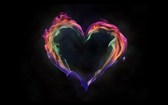 Обои Красочный огонь любви сердце, черный фон