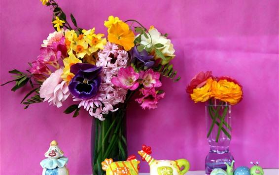 Papéis de Parede Flores coloridas, vaso, buquê, fundo rosa