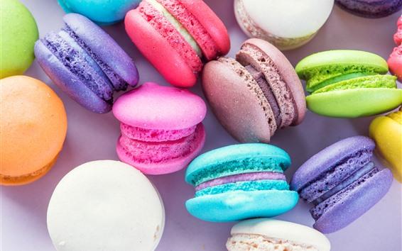 Papéis de Parede Macaron colorido, bolos, alimentos doces