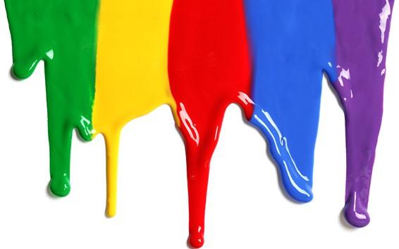 壁紙 カラフルな塗料、虹色、白の背景