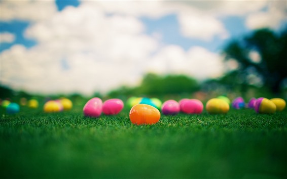 Wallpaper Colorful toy eggs, grass