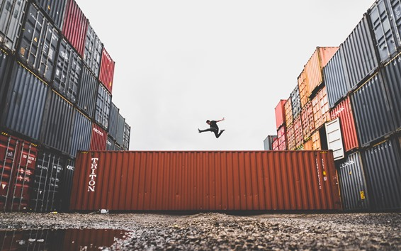 Wallpaper Container, man, jumping