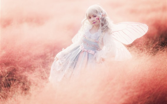 Wallpaper Cosplay girl, elf, wings, grass, hazy