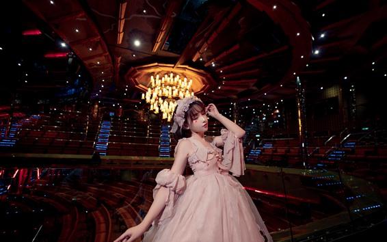 Fondos de pantalla Chica cosplay, falda, escenario, luces.