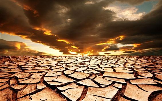 Wallpaper Cracks, ground, clouds, sunset