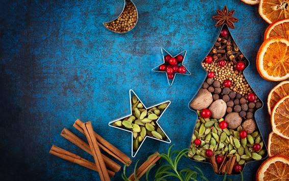 Wallpaper Creative, Christmas tree, cinnamon, dry orange slices, nuts
