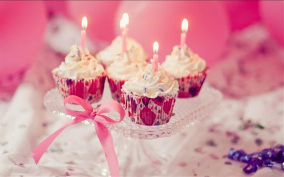 Fond d'écran Cupcakes, bougies, cadeau, anniversaire