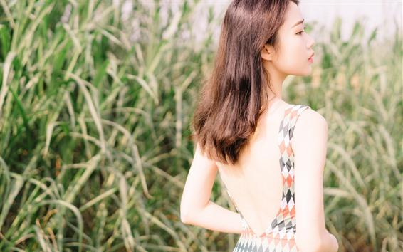 Fondos de pantalla Linda chica asiática vista trasera, hierba, verano
