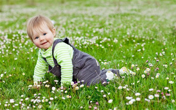 Wallpaper Cute baby, crawl on grass
