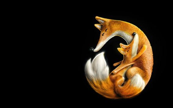 Fondos de pantalla Linda familia de zorro, madre y cachorro
