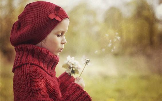 Papéis de Parede Cute, menina, jogo, dandelions