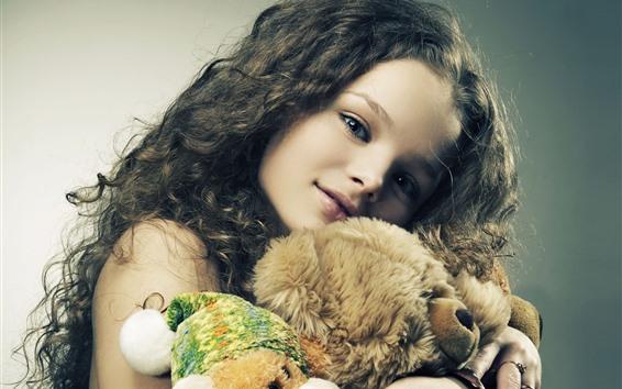 Wallpaper Cute little girl and teddy