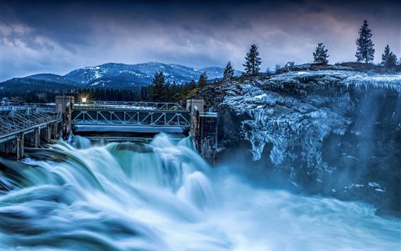 Wallpaper Dam, river, trees, snow, winter