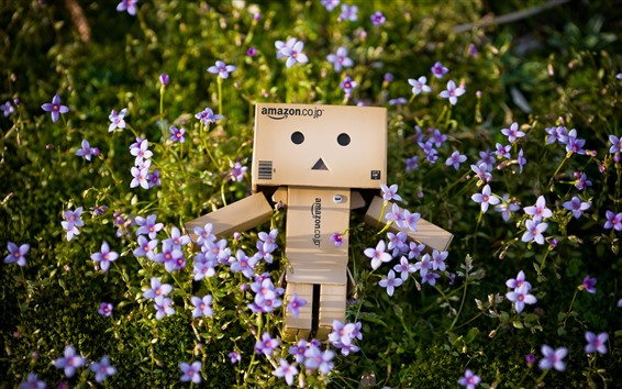 Wallpaper Danbo, purple little flowers