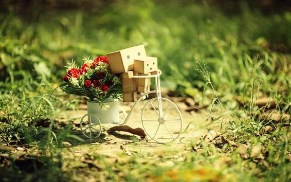 Fondos de pantalla Danboard, bicicleta, flores.