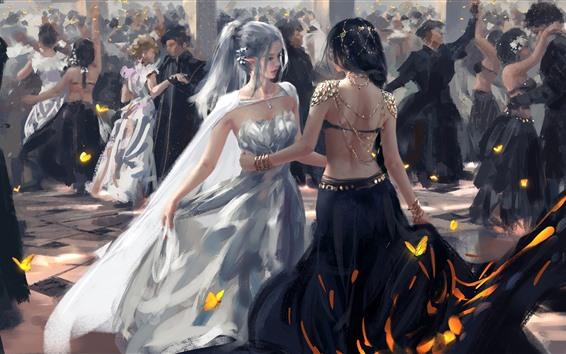 Papéis de Parede Meninas dançando, elfo, fantasia, imagens de arte