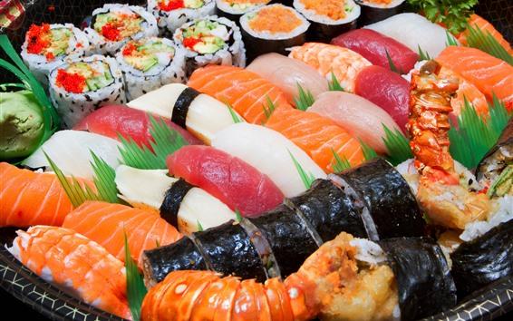 Fondos de pantalla Deliciosa comida japonesa, sushi, carne.
