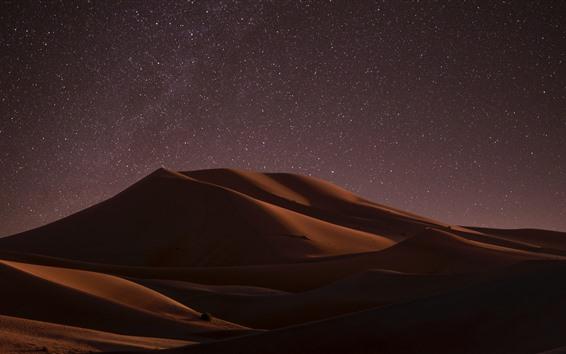 Fondos de pantalla Desierto, noche, duna, estrellada, estrellas.