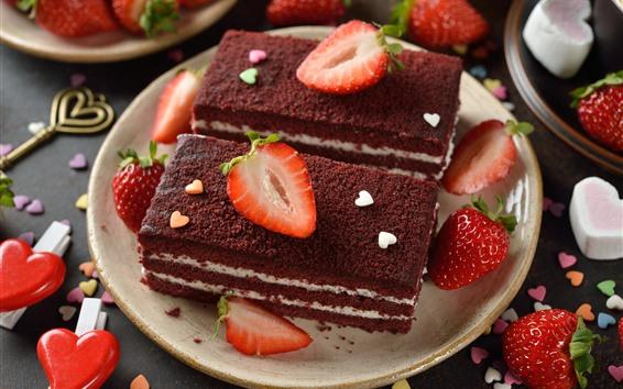Wallpaper Dessert, cake, strawberry, love heart