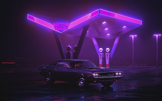 Wallpaper Dodge Charger 1970 car, neon gas