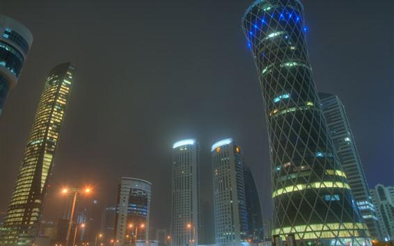 Fondos de pantalla Doha, Qatar, ciudad, rascacielos, noche, Emiratos Árabes Unidos
