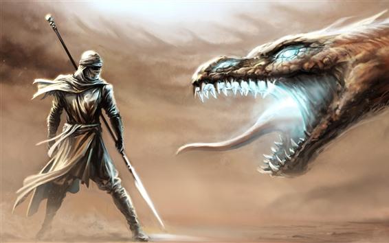 Fondos de pantalla Dragón y guerrero, lucha, fotografía artística.