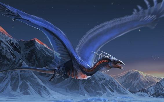 Fondos de pantalla Dragón, vuelo, alas, montañas, cuadro del arte