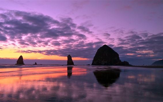 Fondos de pantalla Anochecer, atardecer, mar, rocas, costa.