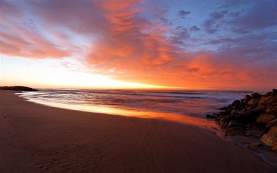Fondos de pantalla Tarde, mar, playa, nubes, atardecer.