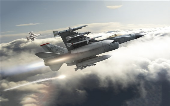 Wallpaper F16 jets, fighters, clouds, sky
