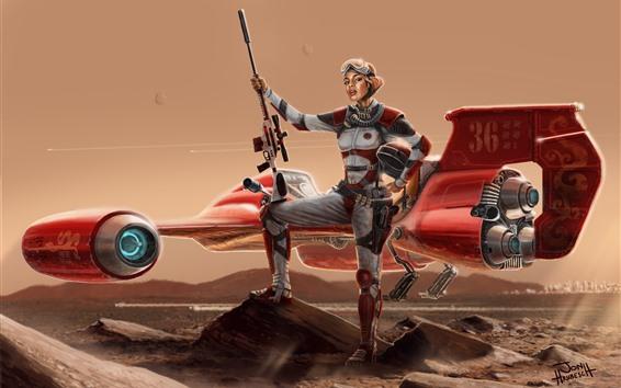 Wallpaper Fantasy girl, aircraft, future, sci-fi
