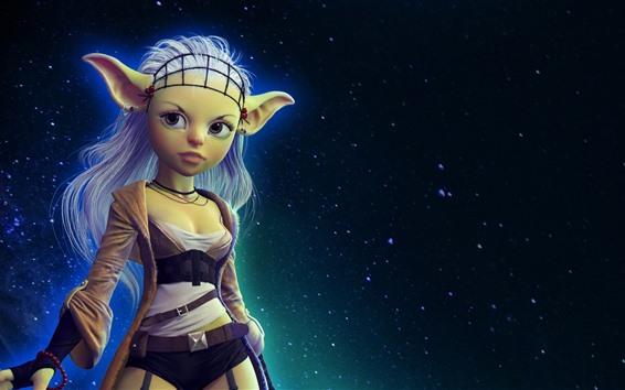 Papéis de Parede Fantasia menina, elfo, estrelada, céu, noite