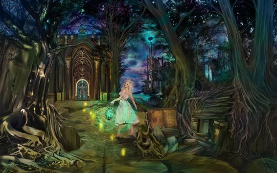Fond d'écran Fille d'imagination, Temple, arbres, lanterne, nuit