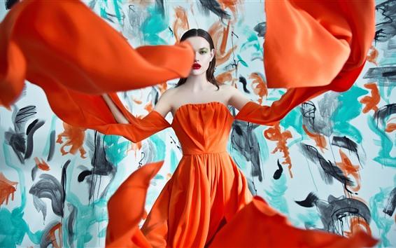 Fondos de pantalla Muchacha de la manera, falda anaranjada, fotografía del arte
