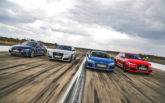 Papéis de Parede Quatro cores Audi carros