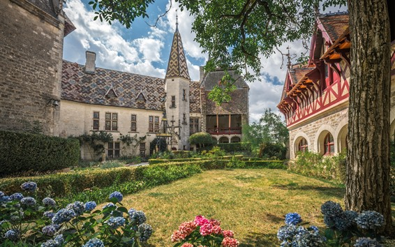 Fondos de pantalla Francia, Borgoña, jardín, hortensia, castillo, casa