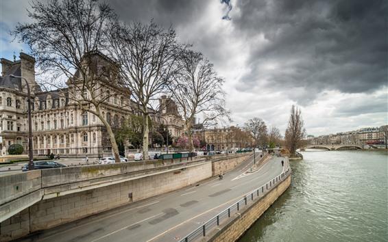 Fondos de pantalla Francia, París, río, puente, árboles, nubes, paisaje urbano
