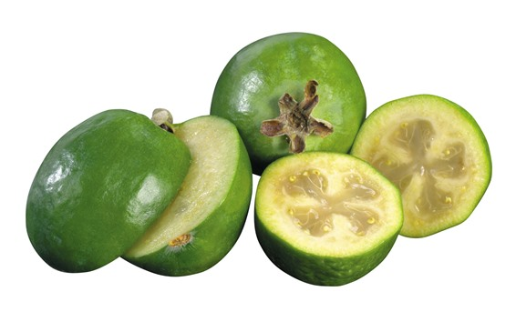 Fondos de pantalla Feijoa fresca, fruta, fondo blanco.