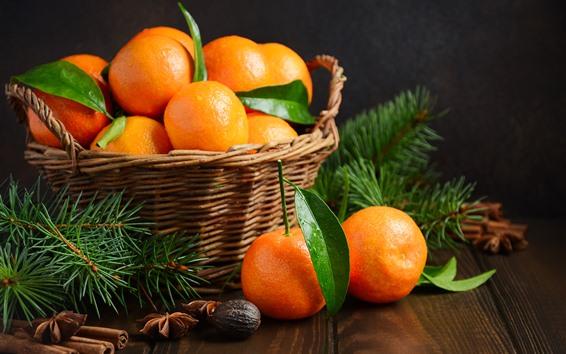 Fondos de pantalla Mandarinas frescas, fruta, cesta