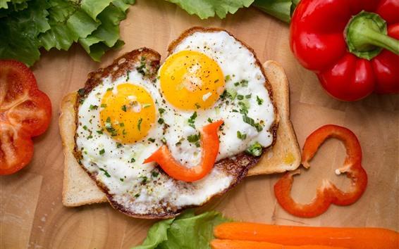 Fondos de pantalla Huevos fritos, cara, ojos, pimientos, creativos.
