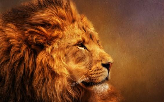 Papéis de Parede Leão peludo, juba, imagens de arte