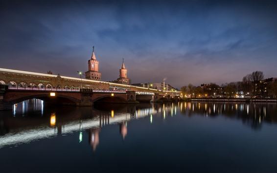 Wallpaper Germany, Berlin, bridge, river, lights, night