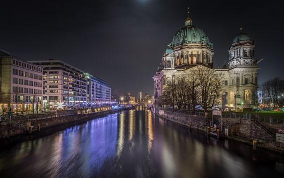 Fondos de pantalla Alemania, Berlín, noche de la ciudad, río, edificios, luces
