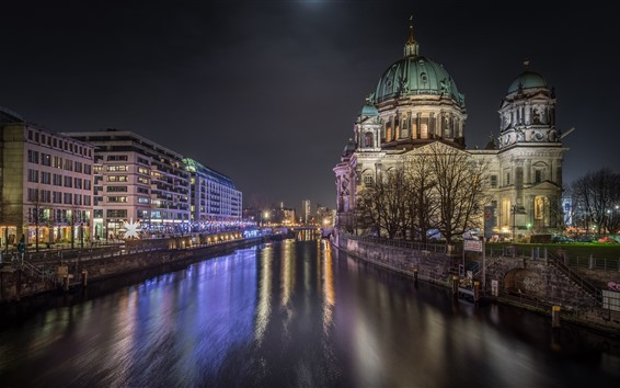 Wallpaper Germany, Berlin, city night, river, buildings, lights